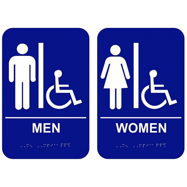 Men's & Women's Handicap Restroom Signs with Braille Blue