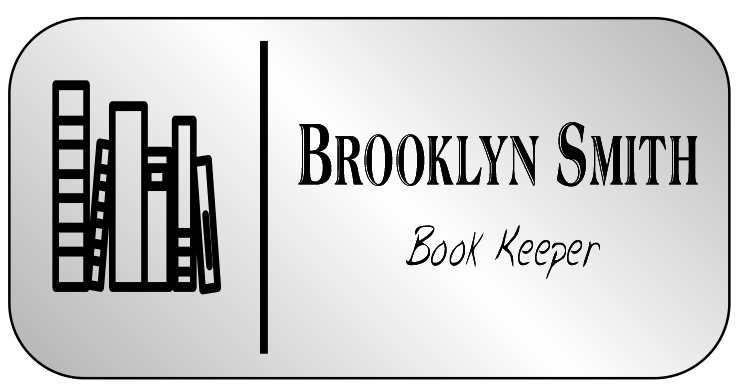 Book Stack 2 Line Large Rectangle Book Store Name Tag