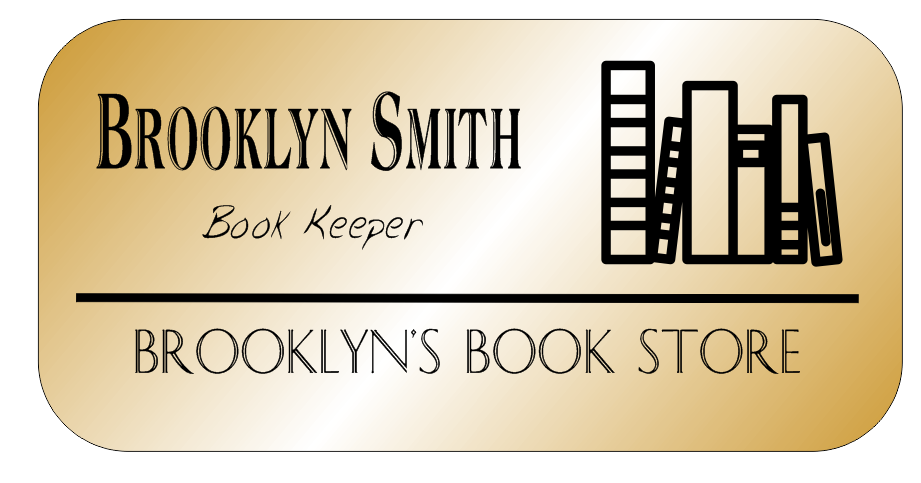 Book Store 3 Line Rounded Rectangle Boutique Name Tag
