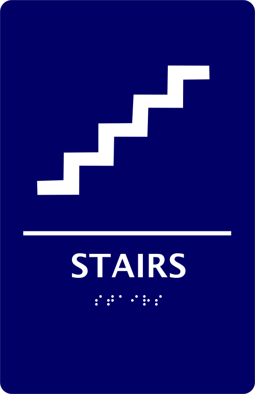 Braille Stairs Engraved Sign with Braille