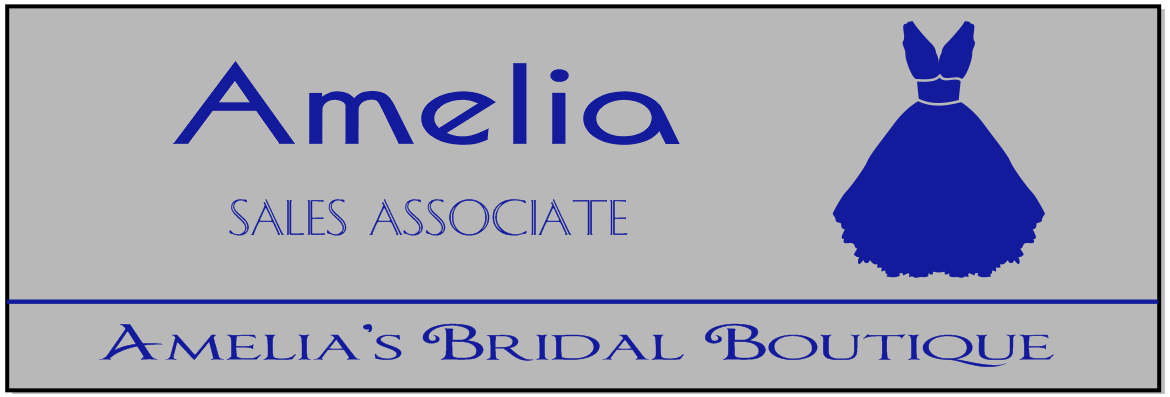 Bridal Store 2 Line Rectangle Boutique Name Tag