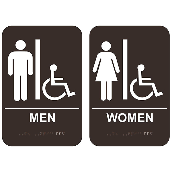 Men's & Women's Handicap Restroom Signs with Braille Brown