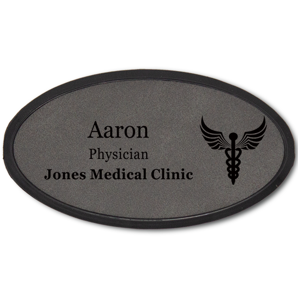Caduceus Leatherette Oval Name Tag