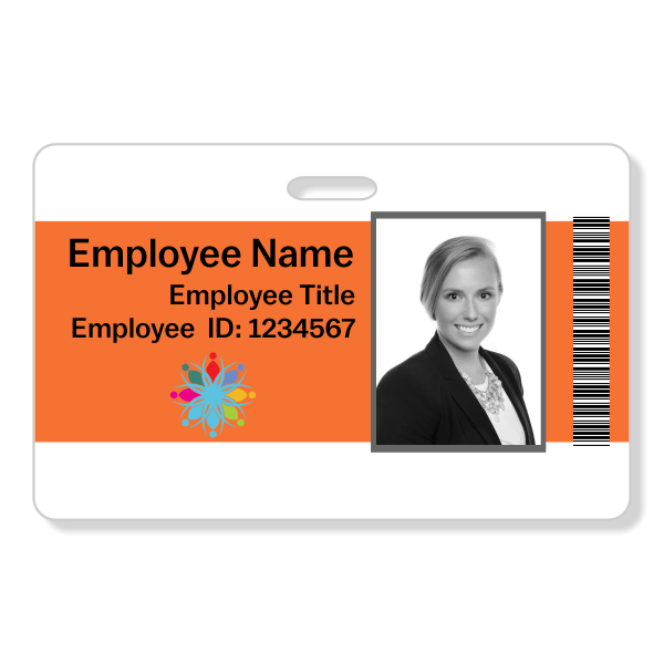 Center Color Bar Code Photo ID Badge