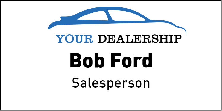 Color Car Dealer Name Tag