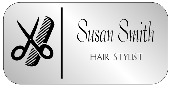 Hair Salon 2 Line Rounded Rectangle Name Tag A