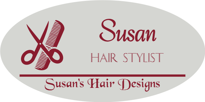 Comb and Scissors 3 Line Oval Hair Salon Name Tag