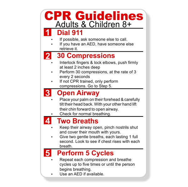 CPR Steps Wallet Reference Card | Name Tag Wizard