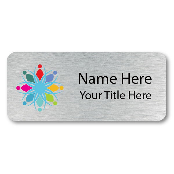 Custom Brushed Silver Name Tag - 1.5 x 3.5