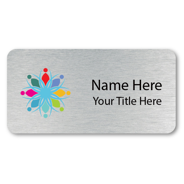 Custom Brushed Silver Name Tag - 1.5 x 3