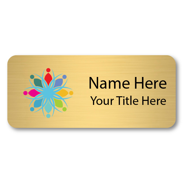 Custom Brushed Gold Name Tag - 1.5 x 3.5