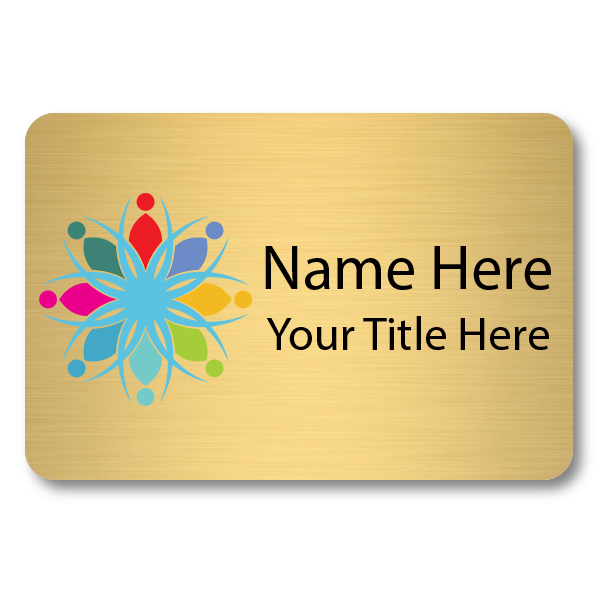 Custom Brushed Gold Name Tag - 2 x 3