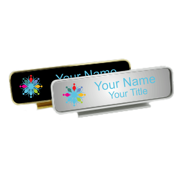 Executive Desk Name Plate Holder with Full Color Insert (Rounded Corners) 2