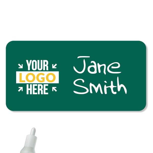 Customized 1.5 x 3 Chalkboard Reusable Name Tag - Example