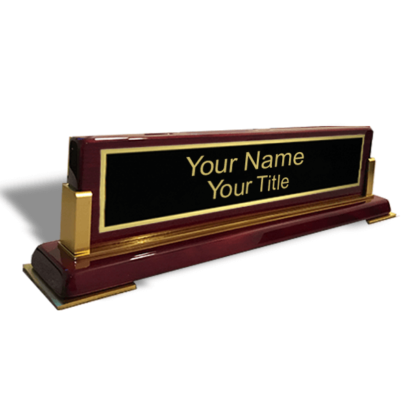 High-Gloss Rosewood Desk Plate with Wood Base and Gold Trim | 3