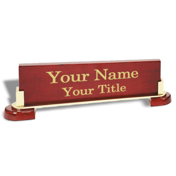 High-Gloss Rosewood Desk Plate with Wood Base and Gold Trim