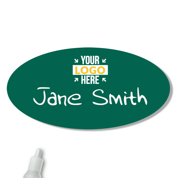 Customized Oval 1.5 x 3 Chalkboard Reusable Name Tag - Example
