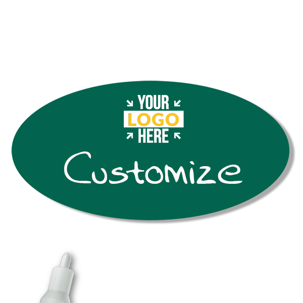 Customized Oval 1.5 x 3 Chalkboard Reusable Name Tag