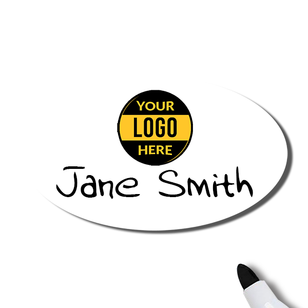 Customized Oval 1.75 x 3 Dry Erase Reusable Name Tag - Example