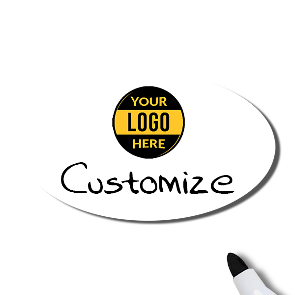Customized Oval 1.75 x 3 Dry Erase Reusable Name Tag