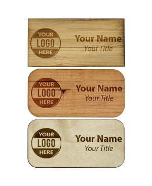"Engraved Wood Name Tag | 1 ½"" x 3"""