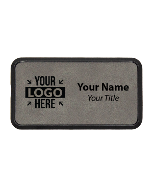 "Leatherette Rectangle Name Tag with Frame - 1.5"" x 3"""