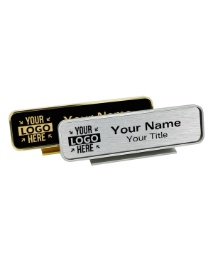 """Executive Desk Nameplate Holder with Engraved Insert (Rounded Corners)  2"""" x 8"""""""