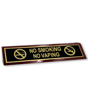 No Smoking | No Vaping Wood Desk Block