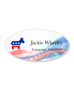 Abstract Swoosh Oval Liberal Political Name Tag
