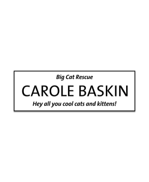Carole Baskin Cool Cats and Kittens Halloween Name Tag