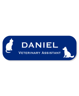 Cat Sitting Across From Dog Veterinary Name Tag
