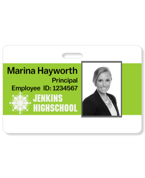 Center Color Bar Code Photo ID School Badge