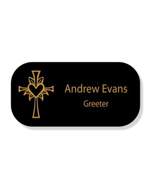 Cross with Lily and Heart Faith Engraved Name Tag - Rectangle