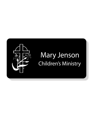 Lily Cross Faith Engraved Name Tag - Rectangle