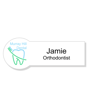 Circle & Rectangle Orthodontist Dentist Name Tag