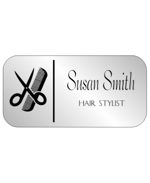 Hair Salon 2 Line Rounded Rectangle Name Badge A