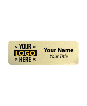 Custom Brushed Gold Name Tag - 1 x 3