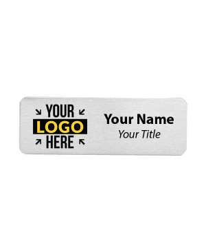 Custom Brushed Aluminum Name Tags - 1 x 3
