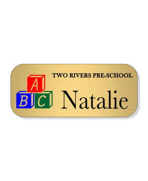 Day Care ABC 3 Line Name Badge