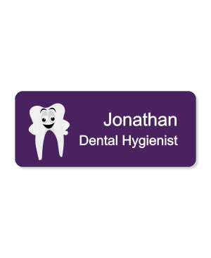 Dental Smiley Tooth Purple 2 Line Name Badge