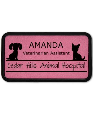 Dog and Cat Sitting On Line Large Veterinary Leatherette Name Tag