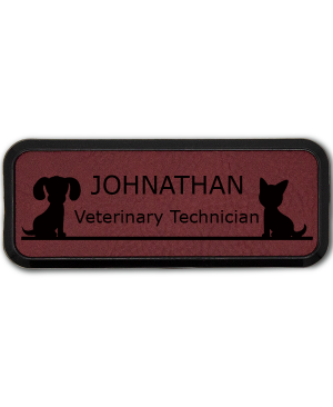 Dog and Cat Sitting On Line Small Veterinary Leatherette Name Tag