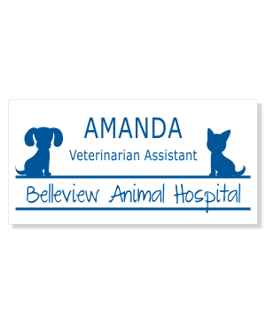 Veterinary Rectangle 3 Line Name Badge C