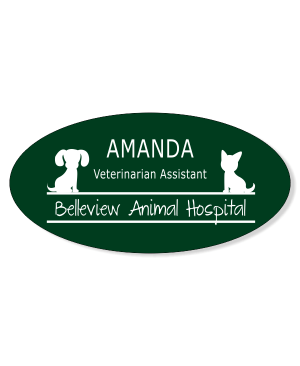 Dog and Cat Sitting On Line Veterinary Oval Name Tag