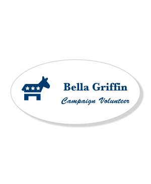 Engraved Oval Democrat Political Name Tag