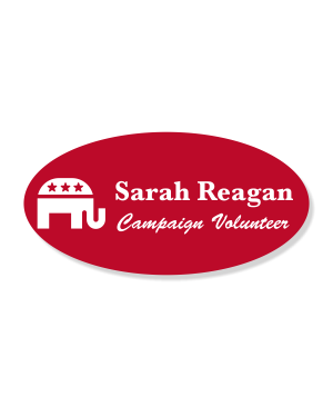 Engraved Oval Republican Political Name Tag