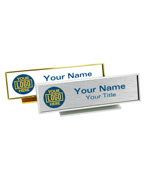 """Executive Desk Name Plate Holder with Full color Insert (Square Corners) 2"""" x 8"""""""