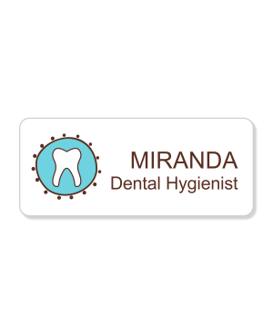 Dental Fancy Tooth 2 Line Name Badge