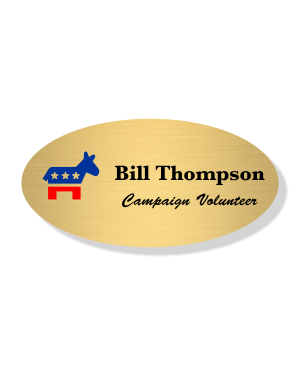Full Color Oval Donkey Political Name Tag