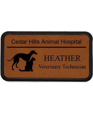 Greyhound With Cat Veterinary Leatherette Name Tag